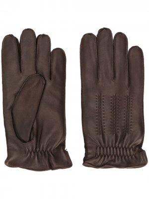 Кожаные перчатки с декоративной строчкой Orciani. Цвет: коричневый
