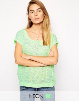 Джемпер с короткими рукавами Laura American Retro. Цвет: зеленый