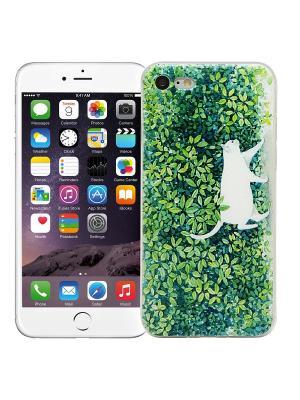 Чехол для iPhone 7 Кот в зелени Kawaii Factory. Цвет: зеленый, белый