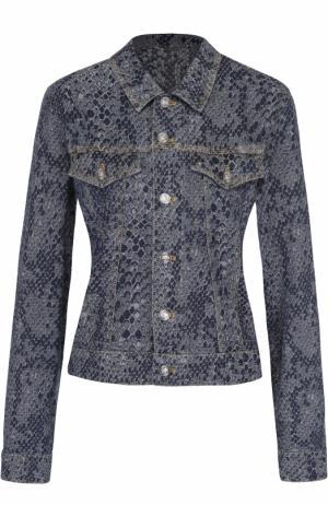 Джинсовая куртка со змеиным принтом Kenzo. Цвет: темно-синий
