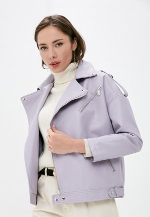 Куртка кожаная Aaquamarina. Цвет: фиолетовый