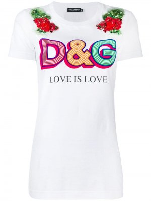 Футболка с логотипом Dolce & Gabbana. Цвет: белый