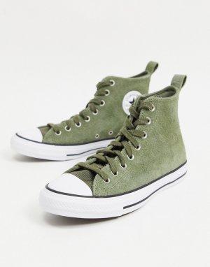 Замшевые кроссовки цвета хаки Chuck Taylor All Star Hi Mountain Club-Зеленый цвет Converse