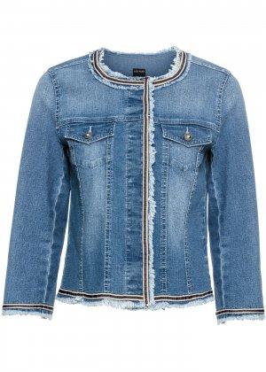 Джинсовая куртка с бахромой bonprix. Цвет: синий