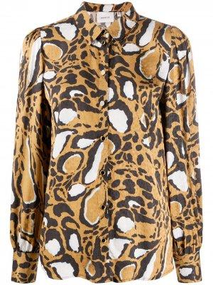 Рубашка с длинными рукавами и анималистичным принтом Gestuz. Цвет: коричневый