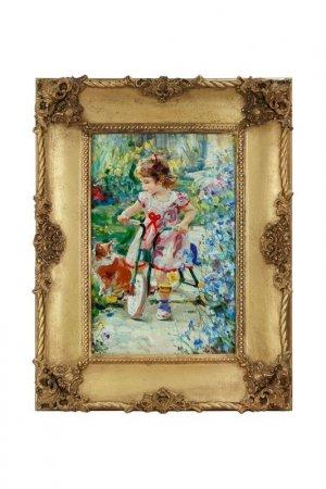 Картина Девочка на велосипеде ГЛАСАР. Цвет: золотой, голубой, бежевый