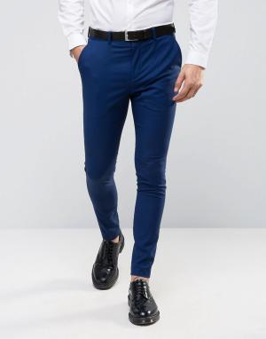 Ультразауженные брюки под смокинг Selected Homme. Цвет: темно-синий