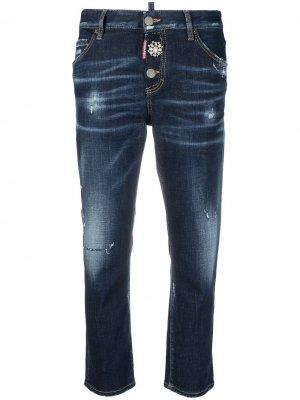 Укороченные джинсы с эффектом потертости Dsquared2. Цвет: синий