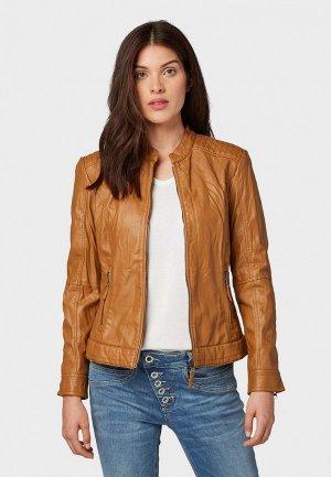 Куртка кожаная Tom Tailor. Цвет: коричневый