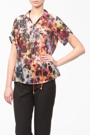 Блуза с поясом Cliche. Цвет: мультиколор