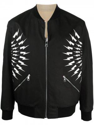 Куртка с принтом Thunderbolt Neil Barrett. Цвет: черный