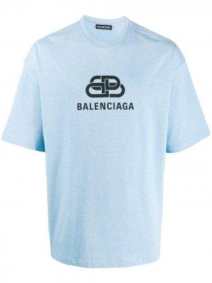 Футболка с логотипом Balenciaga. Цвет: синий