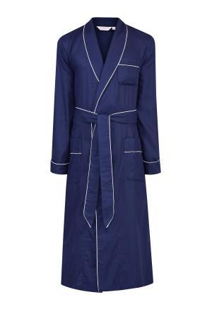 Халат из атласного хлопка с жаккардовым принтом DEREK ROSE. Цвет: синий
