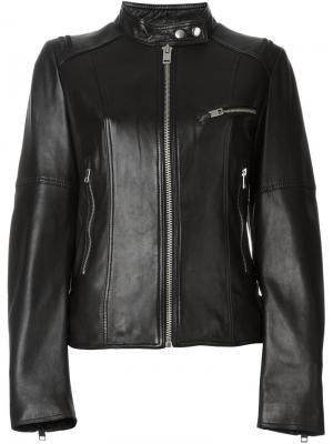 Кожаная куртка на молнии Diesel. Цвет: чёрный