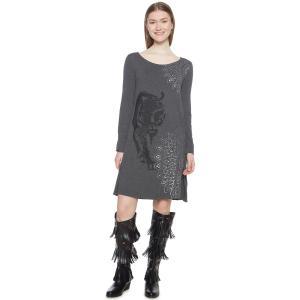 Платье из джерси короткое с анималистическим принтом DESIGUAL. Цвет: серый