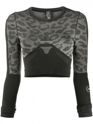 Топ с длинными рукавами и леопардовым принтом adidas by Stella McCartney. Цвет: черный