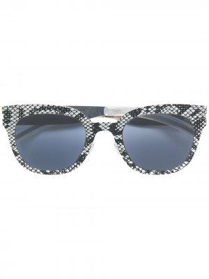 Солнцезащитные очки в оправе со змеиным принтом Mykita. Цвет: золотистый