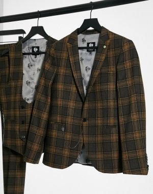 Пиджак в серо-коричневую клетку -Серый Twisted Tailor