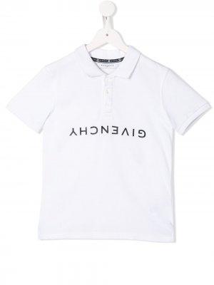 Рубашка-поло с короткими рукавами и логотипом Givenchy Kids. Цвет: белый
