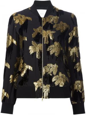 Куртка-бомбер с лиственным эффектом Adam Lippes. Цвет: чёрный