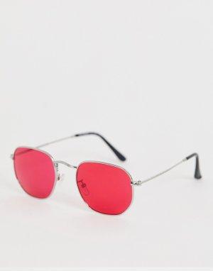 Солнцезащитные очки с квадратной оправой и красными стеклами -Серебряный AJ Morgan