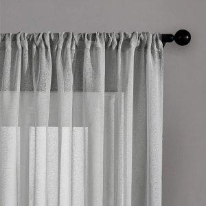 Простая прозрачная штора 1шт SHEIN. Цвет: светло-серый