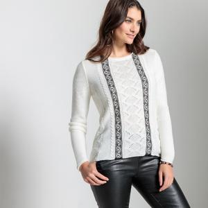 Пуловер из тонкого трикотажа ANNE WEYBURN. Цвет: экрю