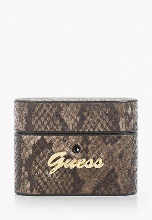Чехол для наушников Guess Airpods Pro, Python PU leather case with metal logo Brown. Цвет: коричневый