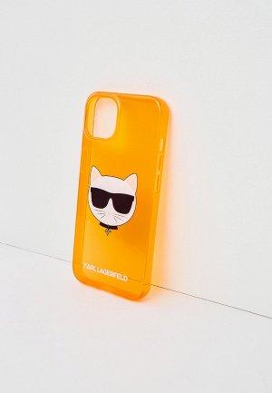 Чехол для iPhone Karl Lagerfeld 13, TPU FLUO Choupette Transp Orange. Цвет: оранжевый