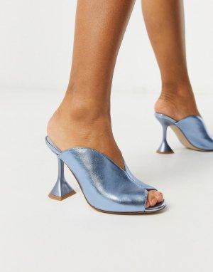 Голубые босоножки на каблуке с эффектом металлик -Синий Jeffrey Campbell