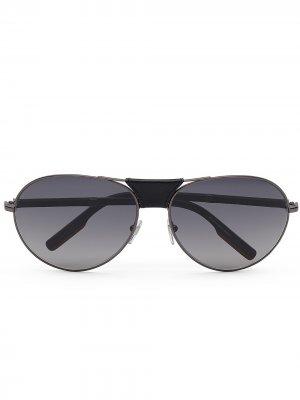 Солнцезащитные очки-авиаторы Ermenegildo Zegna. Цвет: серый