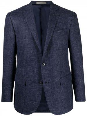 Однобортный пиджак с заостренными лацканами Corneliani. Цвет: синий