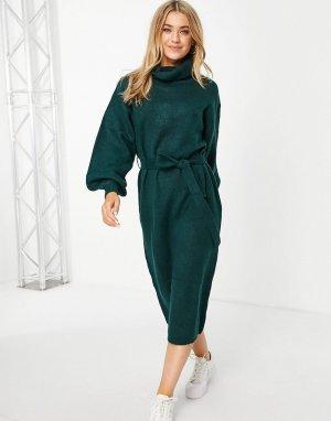Темно-зеленое вязаное платье миди с отворачивающимся воротником и поясом -Зеленый цвет ASOS DESIGN