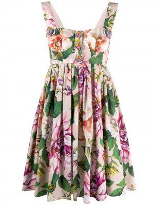 Короткое платье с цветочным принтом Dolce & Gabbana. Цвет: розовый