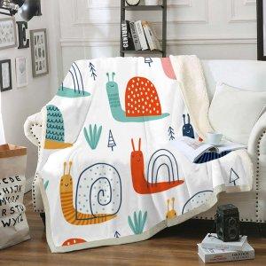 Одеяло улитка принтом фланелевый SHEIN. Цвет: многоцветный