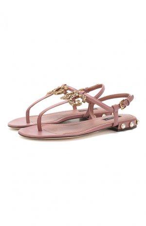 Кожаные сандалии DG Amore Dolce & Gabbana. Цвет: бежевый