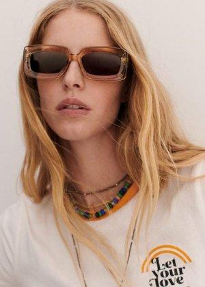 Солнцезащитные очки в стиле ретро - Sophie Mango. Цвет: экрю