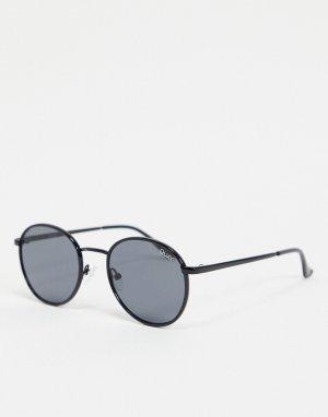 Круглые солнцезащитные очки в черной оправе Quay Omen-Черный цвет Australia