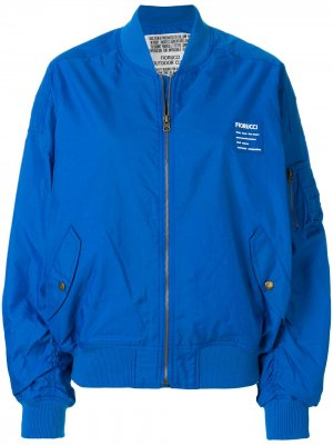 Куртка-бомбер с принтом логотипа Fiorucci. Цвет: синий