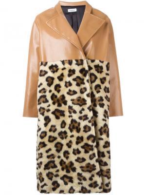 Пальто с леопардовой панелью Au Jour Le. Цвет: телесный