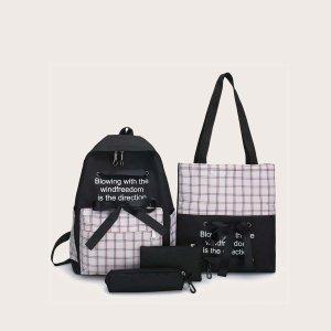 4шт рюкзак в клетку с бантом и пеналом для девочек SHEIN. Цвет: чёрный