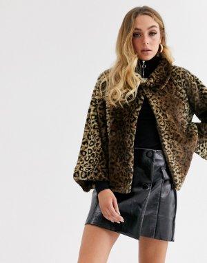 Искусственная шуба с леопардовым принтом -Коричневый Jayley