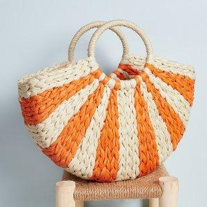 Двухцветная тканая большая сумка с ручкой в виде кольца SHEIN. Цвет: оранжевый