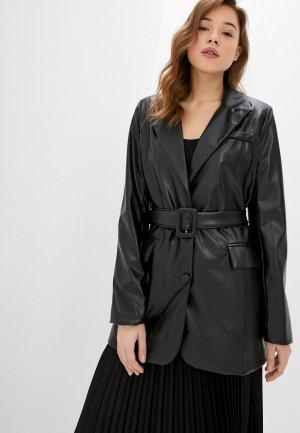 Куртка кожаная Miss Gabby. Цвет: черный