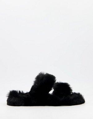 Черные пушистые слиперы -Черный цвет Public Desire