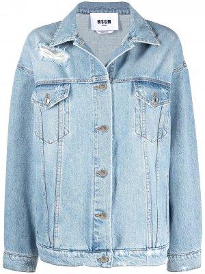 Джинсовая куртка с эффектом потертости и логотипом MSGM. Цвет: синий