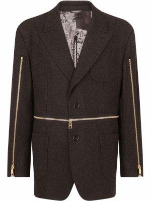 Однобортный пиджак с декоративными молниями Dolce & Gabbana. Цвет: серый