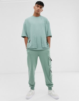 Oversize-футболка из плотного трикотажа с карманами в стиле милитари -Зеленый ASOS DESIGN