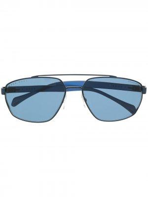 Солнцезащитные очки-авиаторы BOSS. Цвет: синий