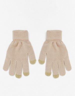Бежевые перчатки с отделкой для сенсорных устройств -Бежевый SVNX